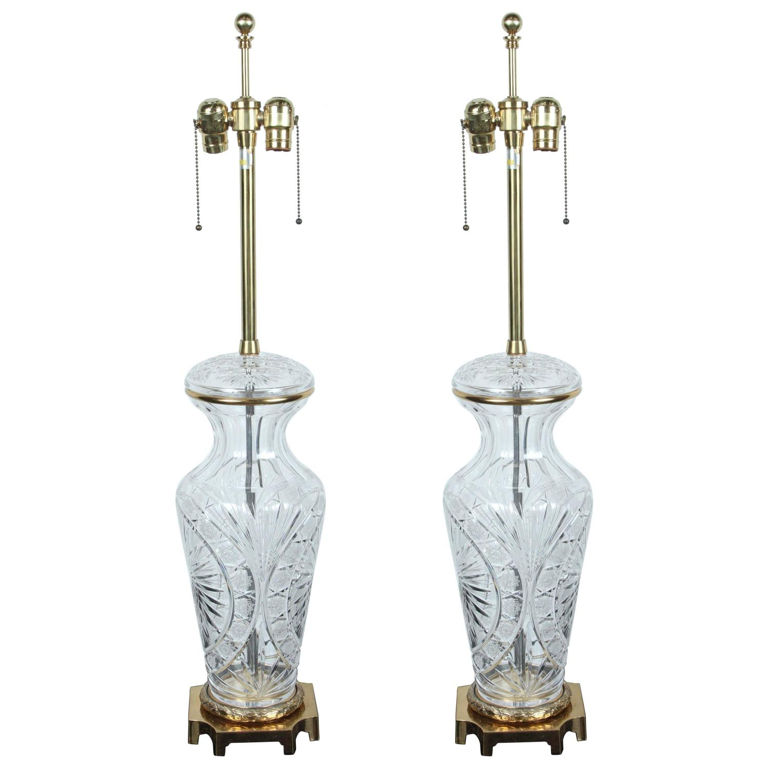 elegant pair of large crystal lamps by marbro at 1stdibs. Black Bedroom Furniture Sets. Home Design Ideas