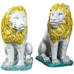 Pair of Faiance Lions