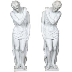Pair of White Marble Sculptures