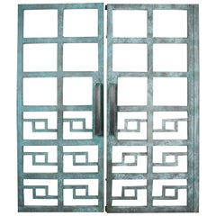 Spectacular Pair of Large Heavy Geometric Steel Gates