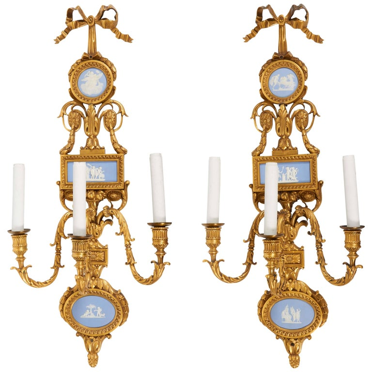 Pair of Louis XVI Doré Bronze and Wedgwood Three-Light Sconces, E. F. Caldwell