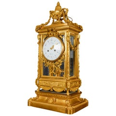 Monumental Antique French Louis XVI Style Ormolu Mantel Clock by Maison Marquis