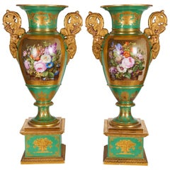 Monumental Pair of French Paris Porcelain Botanical Painted Vases with Rams Head