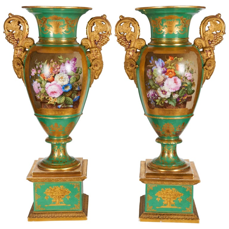Monumental Pair of French Paris Porcelain Botanical Painted Vases with Rams Head For Sale