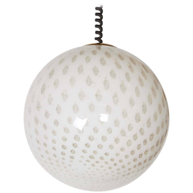 Italian 1980s Large Glass Globe Pendant Light For Sale
