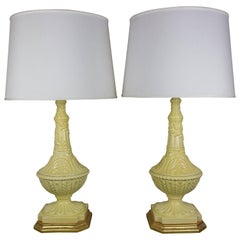 Pair of Yellow Ceramic Lamps with Gilt Bases