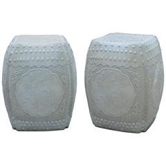 Pair of Fine Carved Porcelain Stools