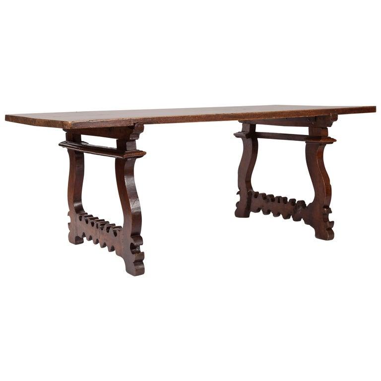 Antique Italian Lyre Leg Table For Sale