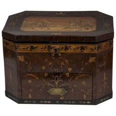 Large George III Brass and Fruitwood-Inlaid and Mahogany Storage Box