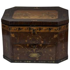 Large George III Brass and Fruitwood-Inlaid and Mahogany Storage Box