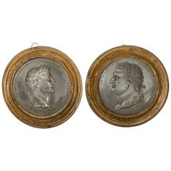 Pair of Directoire Silvered Bronze Portrait Medallions of Roman Emperors