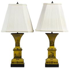 Pair of Romantic Yellow Tole Urns Mounted as Lamps
