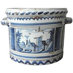 Antique 18th Century Faience Pot from Nevers, France