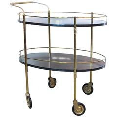 Two-Tier Ebonized Wood and Brass Rolling Bar Cart