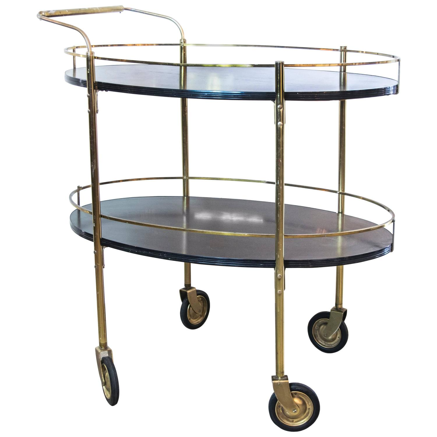 Two Tier Ebonized Wood And Brass Rolling Bar Cart At 1stdibs
