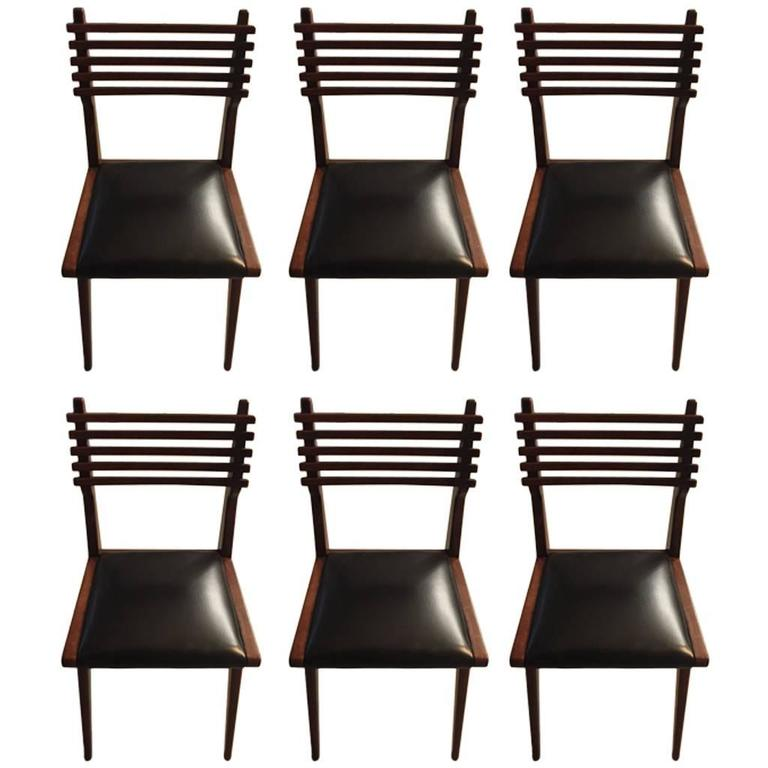 Set of Six Mid-Century Italian Dining Chairs  For Sale