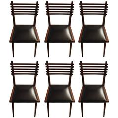 Set of Six Mid-Century Italian Dining Chairs