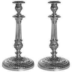 Boivin Imposing French Sterling Silver Candlesticks Pair, Rococo