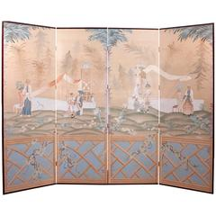 Long Vintage Screen in Chinoiserie with Four Painted Panels of Chinese Scenes