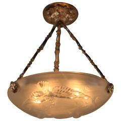 French Art Deco Glass Chandelier by Verlys