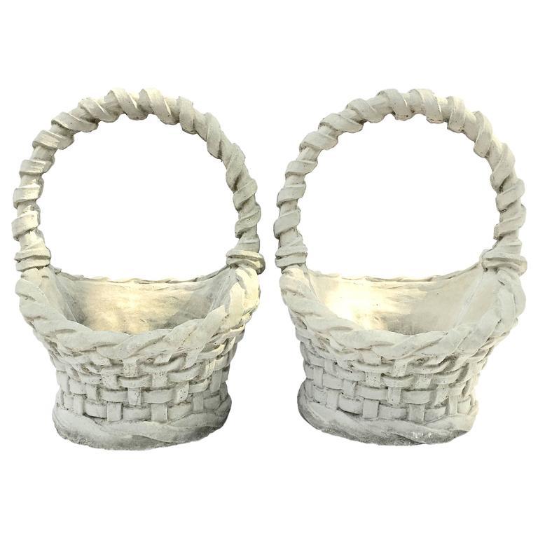 Pair Of Concrete Basket Weave Planters For