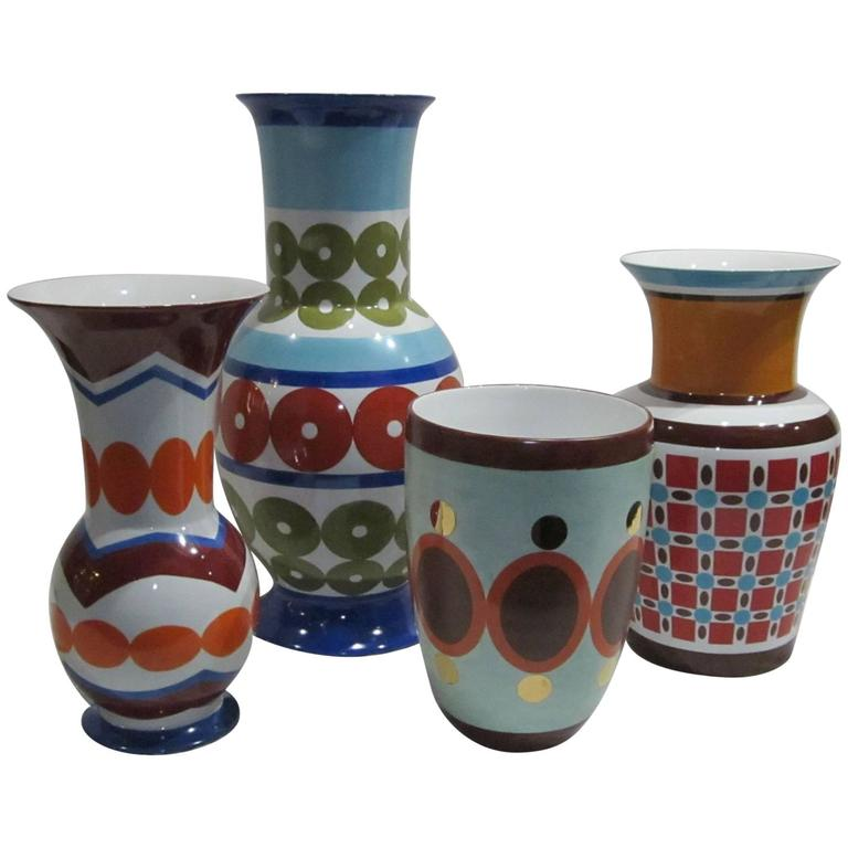 Contemporary Brightly Colored Vases By Frederic De Luca France For