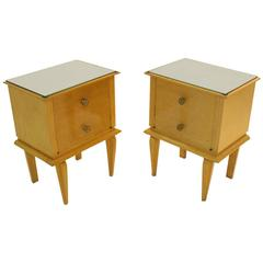 French Moderne Beechwood Nightstands with Mirror Tops