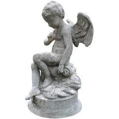 """""""La Fontaine"""" French Antique Stone Statue and Base"""