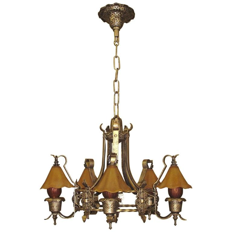 Storybook Style Vintage Ceiling Light Fixture With Original Smoke Bells 1920s For