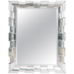 Italian Curved Glass Beveled Mirror