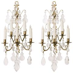 Pair of French Brass and Crystal Sconces