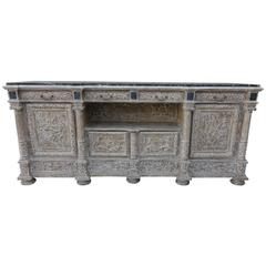 19th Century French Carved Painted Sideboard with Green Marble Top