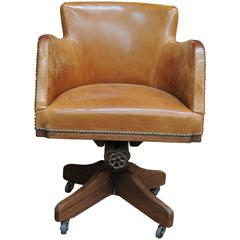 1900 Turning Desk Leather Swiveling Armchair