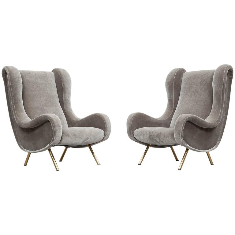 Set of two Marco Zanuso Senior Lounge Chairs * NEW UPHOLSTERY * For Sale