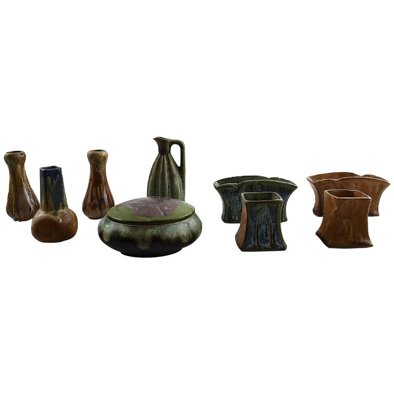 Collection of French Pottery Vases and More, Derbac and Others, 1940s