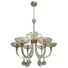 Elegant Seguso Murano Glass Chandelier