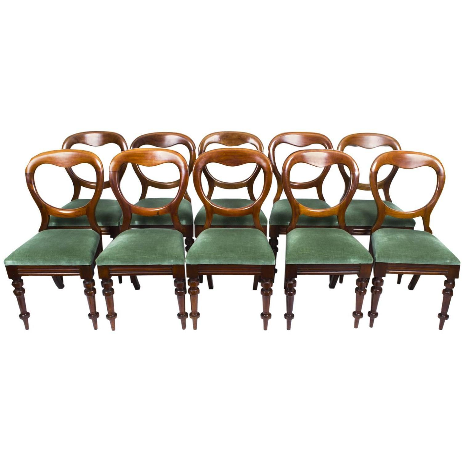 Antique Set of Ten Victorian Balloon Back Dining Chairs circa