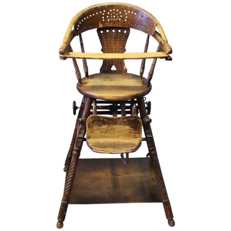Antique Multifunctional High Chair In Polished Wood, Circa