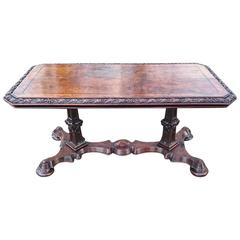 Unusually Fine Gothic Ash Antique Library Table