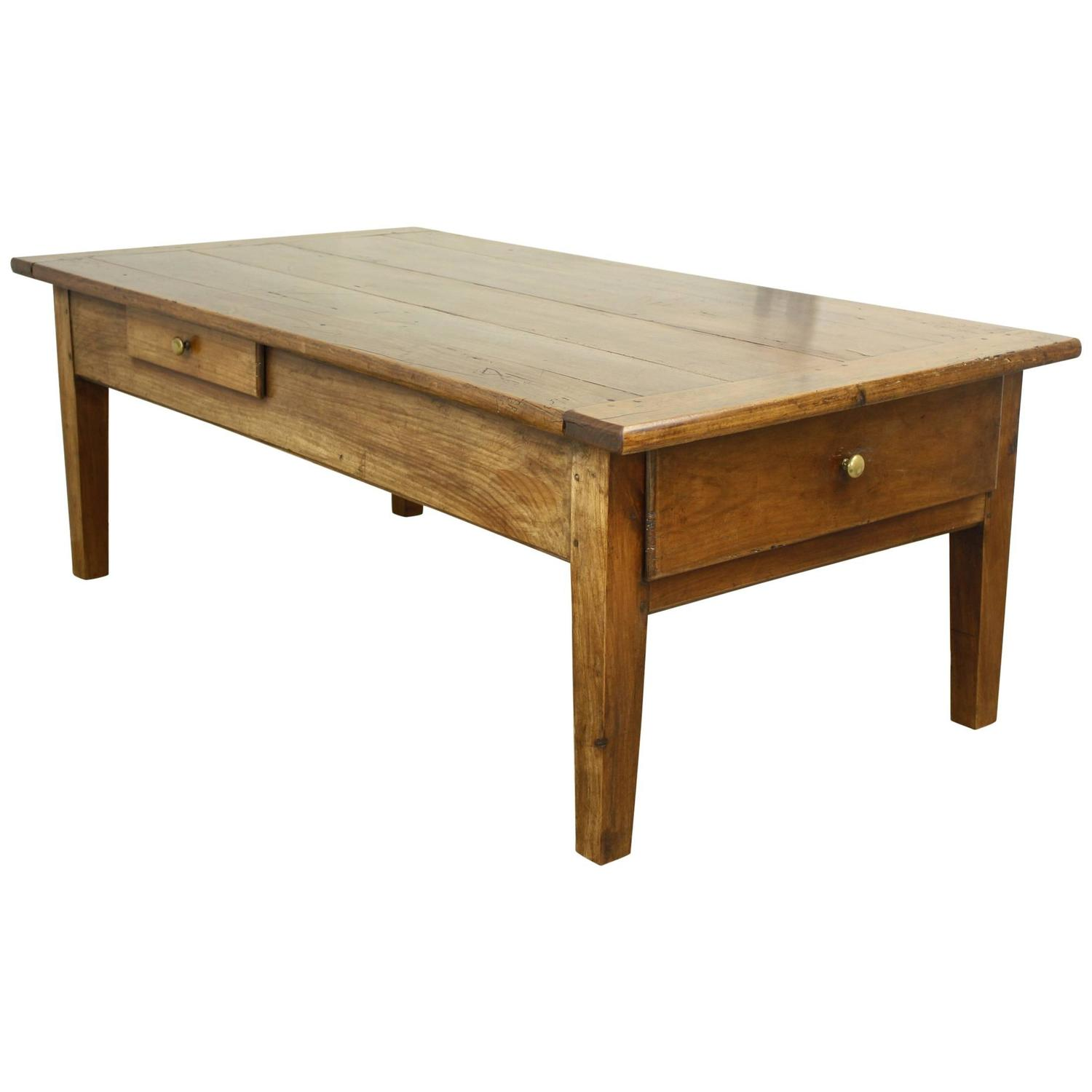 Antique French Two Drawer Cherry Coffee Table At 1stdibs
