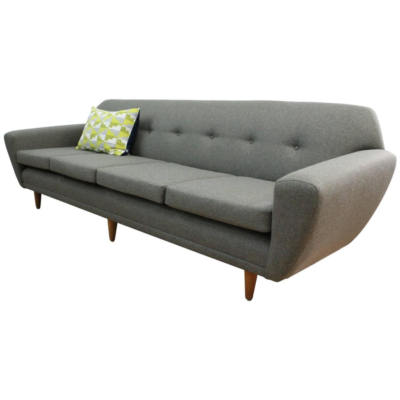 Danish Midcentury Four Seat Sofa Fully Restored at