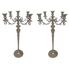 Pair of Metal Standing Candlestick Holders / Candelabra