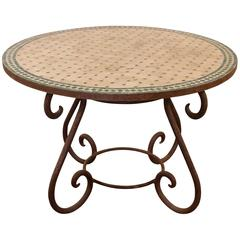 Wrought Iron and Mosaic Tile Garden Table