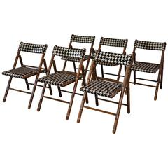 Billy Haines Style Folding Chairs, Faux Bamboo and Houndstooth:  Set of Six