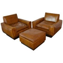 Mid-Century French Cognac Leather Club Chairs and Ottoman