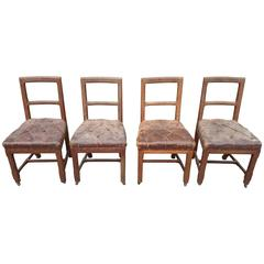 Original Leather Oak Gothic Revival Set of Four Chairs