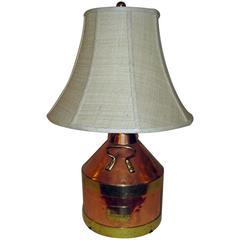 19th Century English Copper Jug Lamp