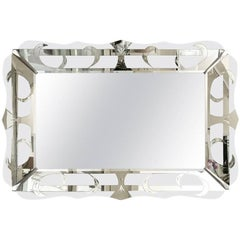Hollywood Regency Vintage Silver Mirror