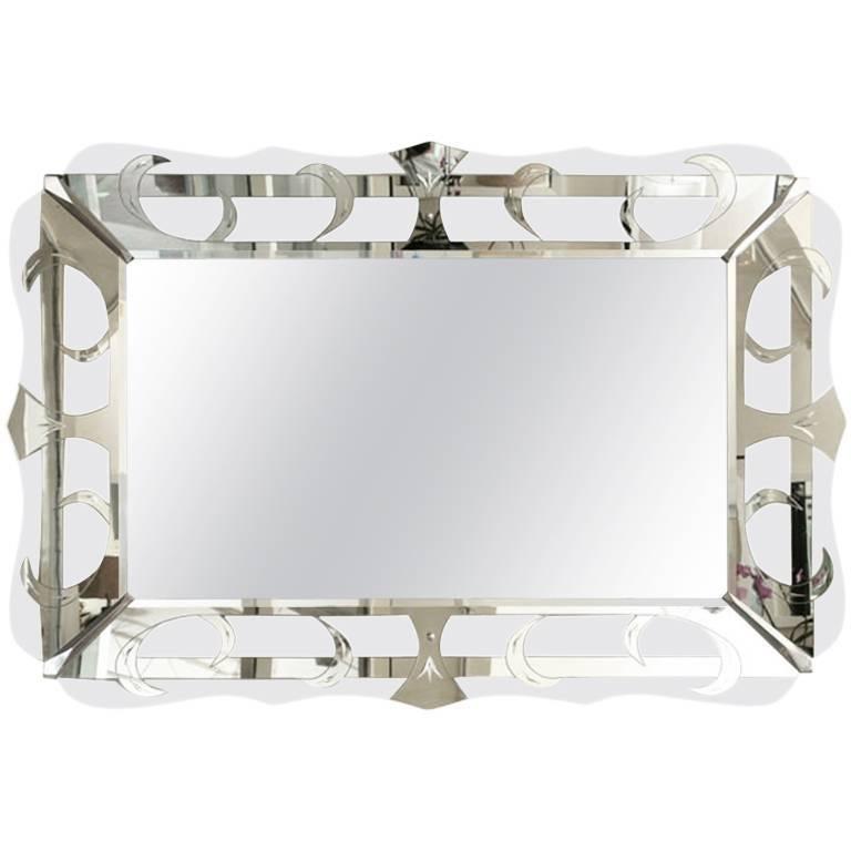 Hollywood Regency Vintage Silver Mirror