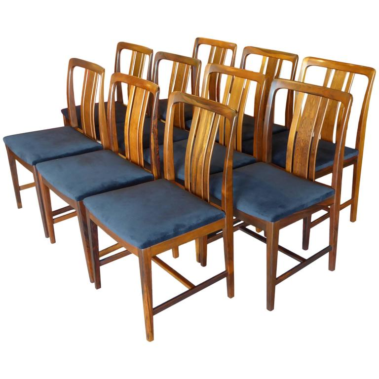 Ten Fine Linde Nilsson Rosewood Modern Dining Chairs, Sweden For Sale